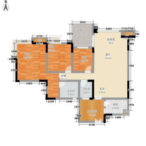 帝豪峰3室0厅2卫1厨144.00㎡户型图