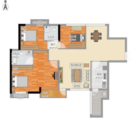 中天会展城3室1厅2卫1厨136.00㎡户型图