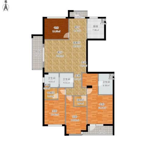 绿城御园4室1厅3卫1厨212.00㎡户型图