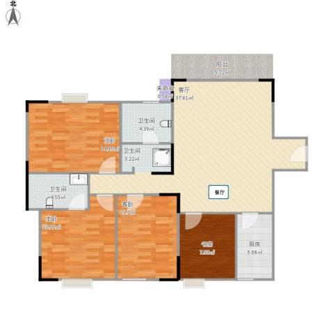 水北新村二期4室1厅2卫1厨129.00㎡户型图