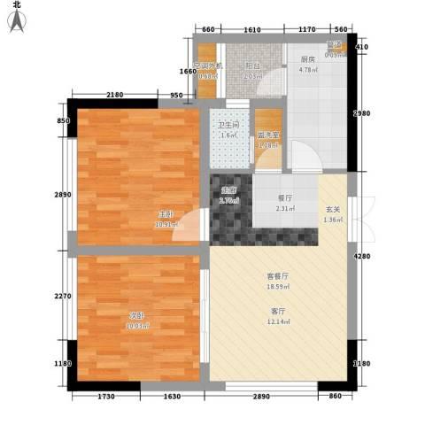 百康年奥运光年2室1厅1卫1厨58.00㎡户型图