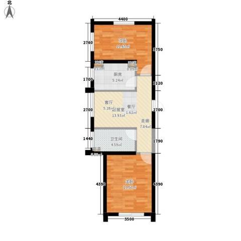 上东城市之光2室0厅1卫1厨78.00㎡户型图
