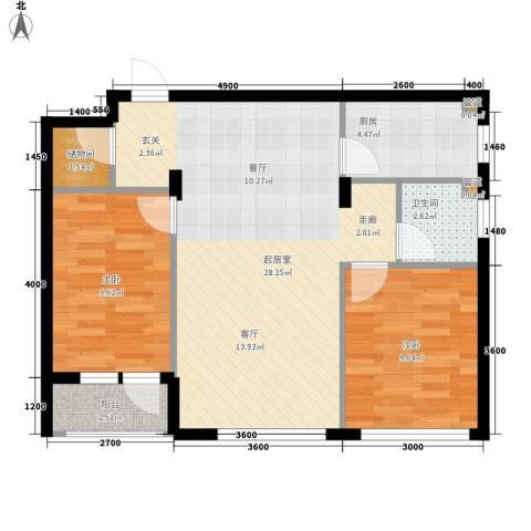 保利花园第五季2室0厅1卫1厨77.00㎡户型图
