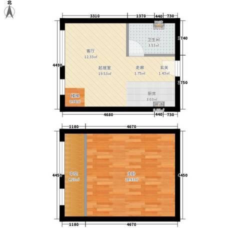 盈嘉上锋国际1室0厅1卫0厨46.32㎡户型图