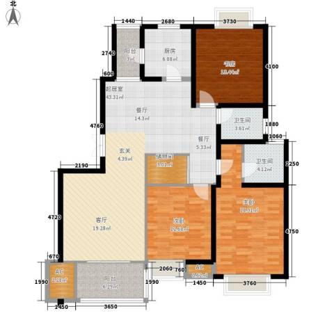 大华阳城五期阳城书院3室0厅2卫1厨132.00㎡户型图