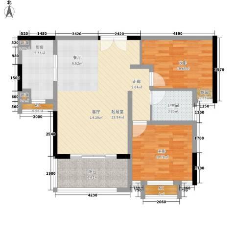 联泰香域滨江2室0厅1卫1厨89.00㎡户型图