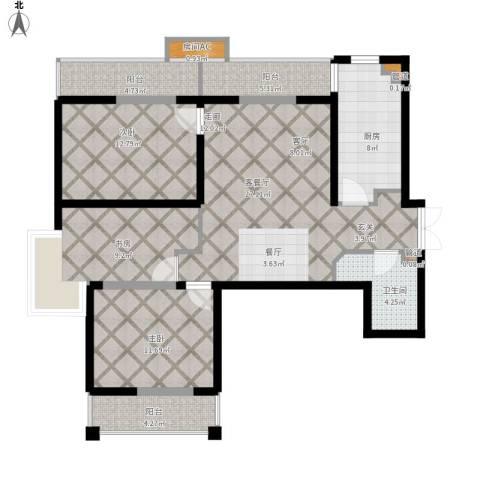 上东大道3室1厅1卫1厨126.00㎡户型图