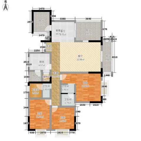 天龙城市花园3室1厅2卫1厨118.62㎡户型图