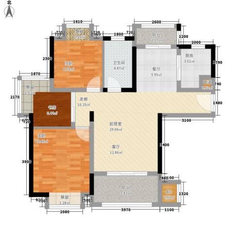 联泰香域滨江3室0厅1卫1厨96.00㎡户型图