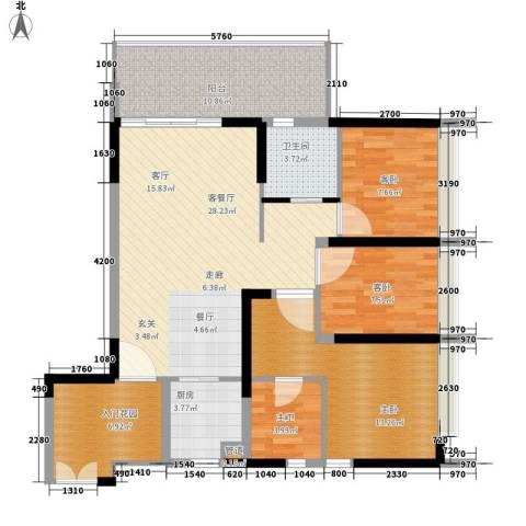 钢琴家 珠海3室1厅1卫1厨122.00㎡户型图