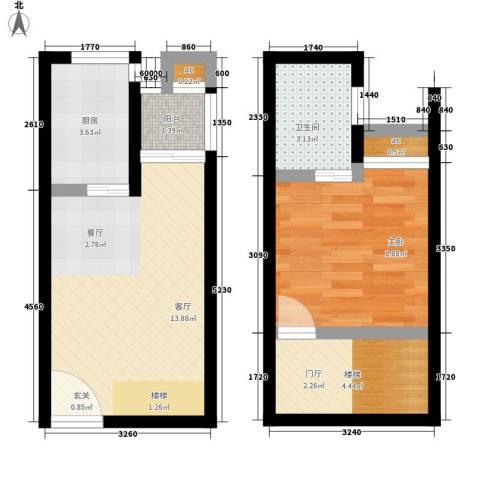 玛雅上层1室1厅1卫1厨45.00㎡户型图