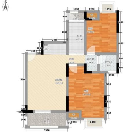 中惠沁林山庄2室0厅1卫1厨80.00㎡户型图