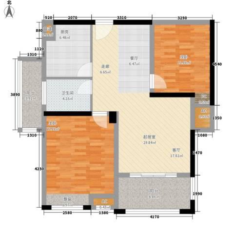 联泰香域滨江2室0厅1卫1厨90.00㎡户型图