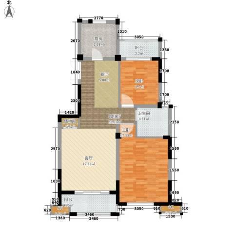 海棠湾花园2室1厅1卫1厨91.00㎡户型图