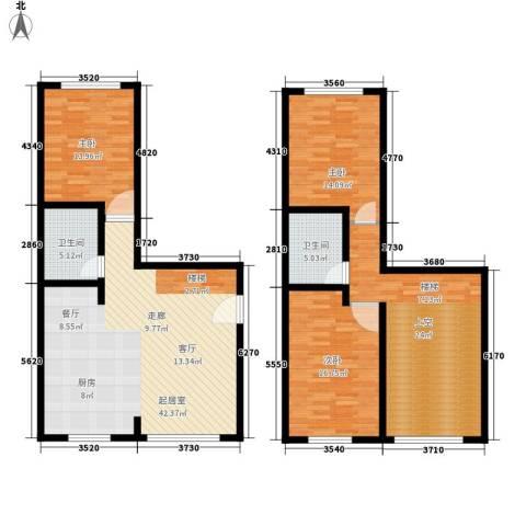 海西名筑3室0厅2卫0厨136.00㎡户型图