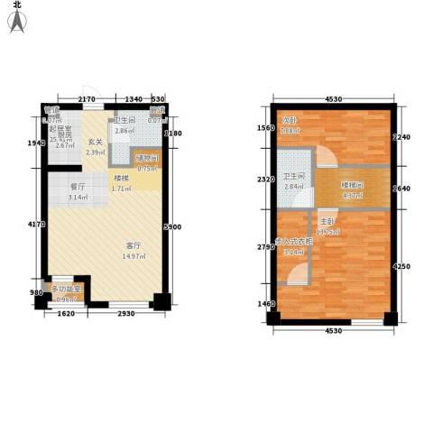 悦泰街里项目2室0厅2卫0厨88.00㎡户型图