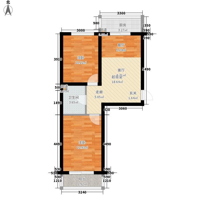 鑫海蓝城65.00㎡鑫海蓝城户型图一期C户型图2室2厅1卫户型2室2厅1卫