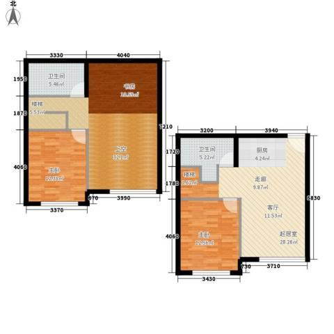 海西名筑2室0厅2卫0厨107.00㎡户型图
