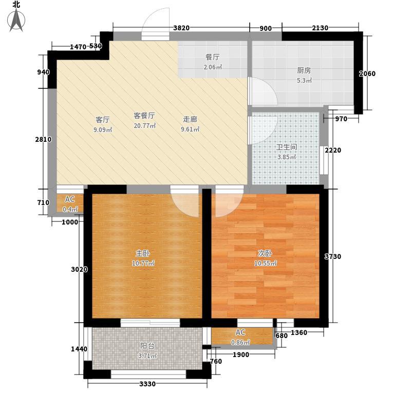 京铭国际65.10㎡B户型2室2厅1卫1厨