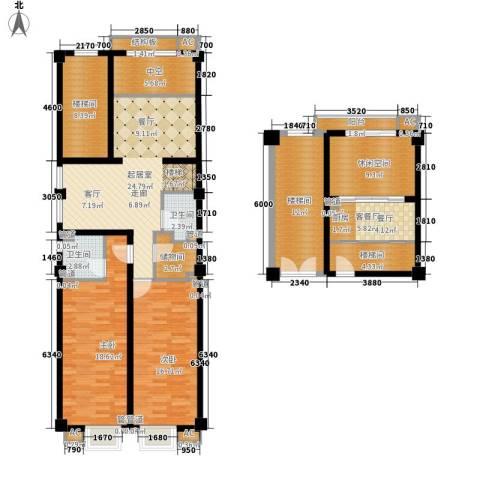 三湘四季花城财富广场2室1厅2卫0厨140.00㎡户型图