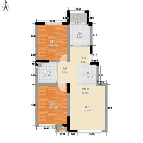 上东城市之光2室0厅1卫1厨88.00㎡户型图
