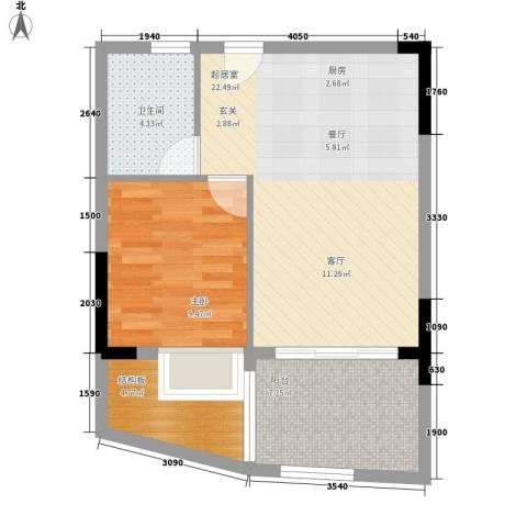 海韵假日休闲公寓1室0厅1卫0厨55.00㎡户型图
