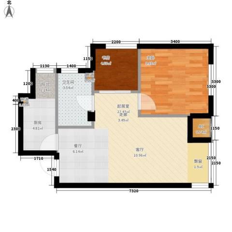 保利花园第五季2室0厅1卫1厨65.00㎡户型图