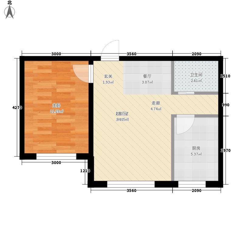 金色8里城55.00㎡G-3户型1室2厅