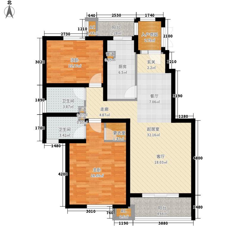 天地源欧筑1898102.00㎡洋房标准层C3户型2室2厅
