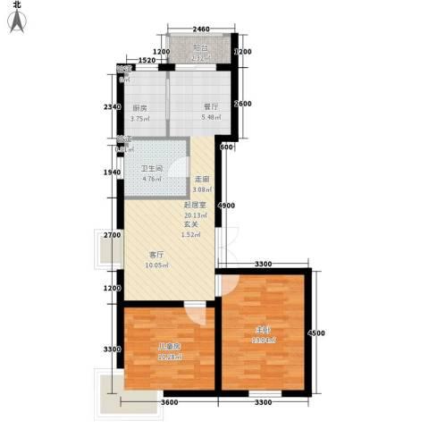 明华西江俪园2室0厅1卫1厨79.00㎡户型图