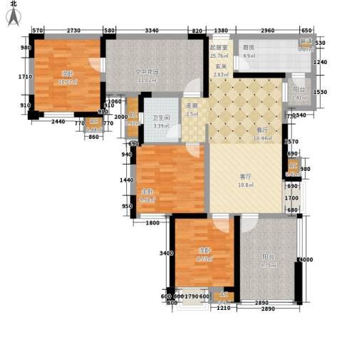 幸福大街3室0厅1卫1厨104.00㎡户型图