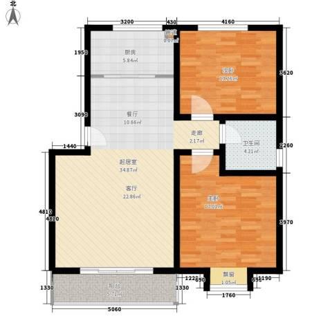 福郡雅居2室0厅1卫1厨92.00㎡户型图