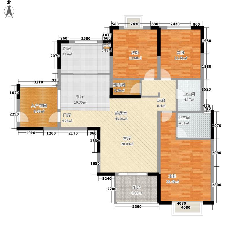 威尼斯水城130.00㎡十五街区2、5、7、10-12、14幢标准层3A户型3室2厅2卫1厨