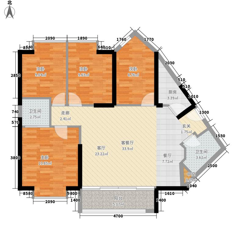 海德堡小镇131.48㎡D2户型4室2厅2卫1厨