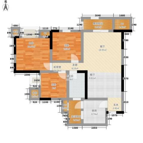 凯鑫华府3室0厅1卫1厨88.00㎡户型图