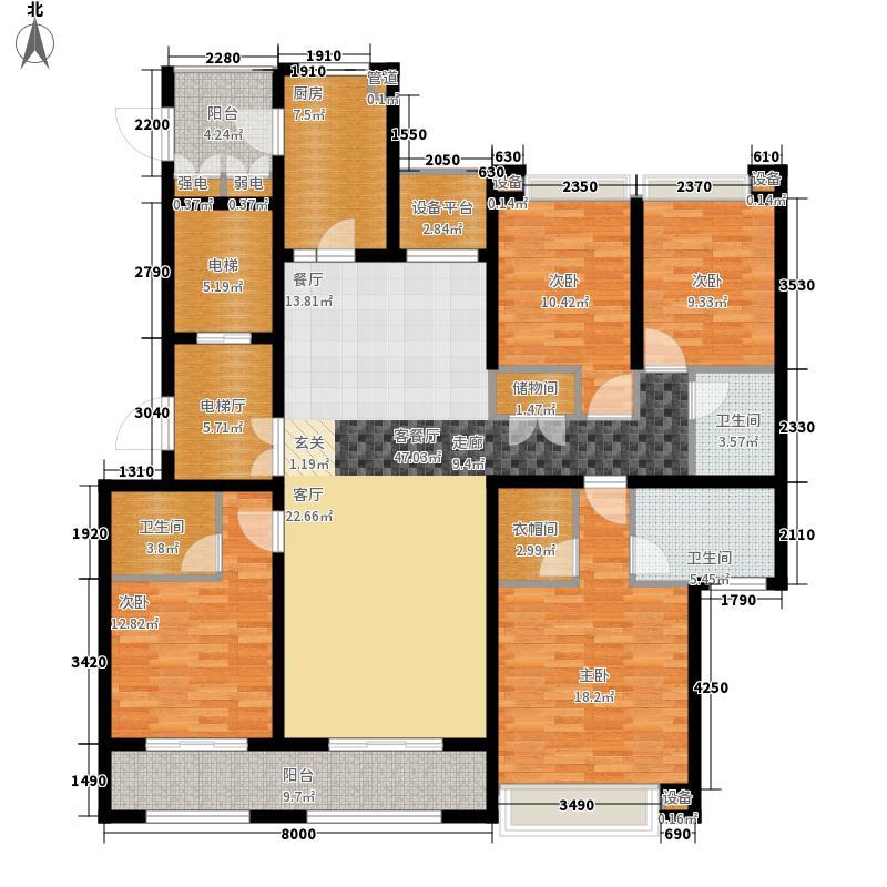 绿地中心177.00㎡绿地中心户型图一期1栋A2户型4室2厅3卫1厨户型4室2厅3卫1厨