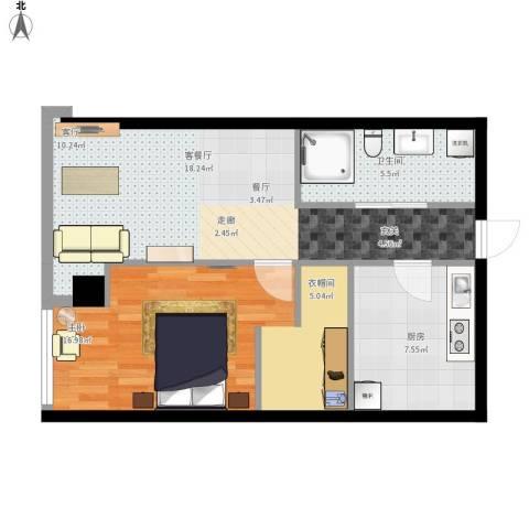 百大绿城西子国际1室1厅1卫1厨68.00㎡户型图