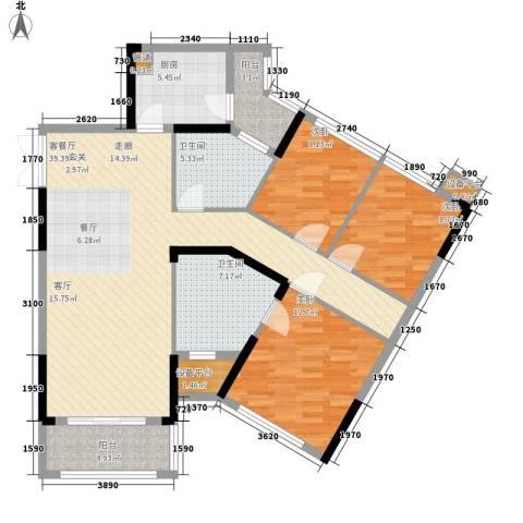 金色港湾五期3室1厅2卫1厨128.00㎡户型图