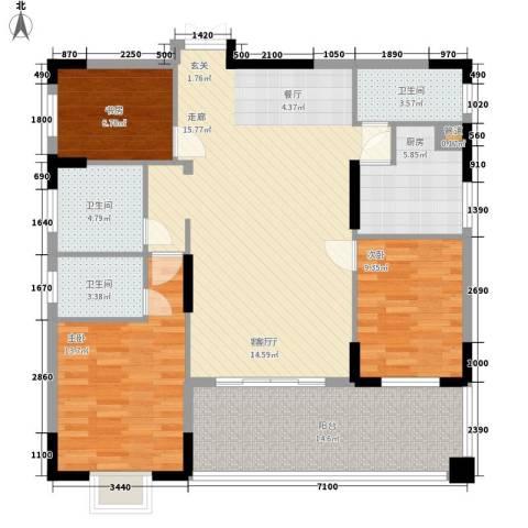 锦绣东方3室1厅3卫1厨139.00㎡户型图
