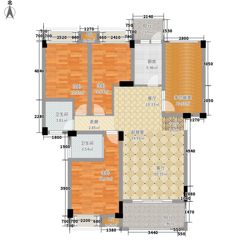 润驰国际广场121.86㎡2号楼E户型3室2厅2卫1厨