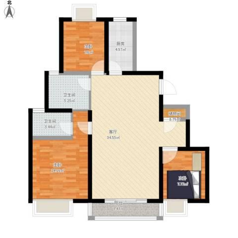 品家都市星城一期3室1厅2卫1厨118.00㎡户型图