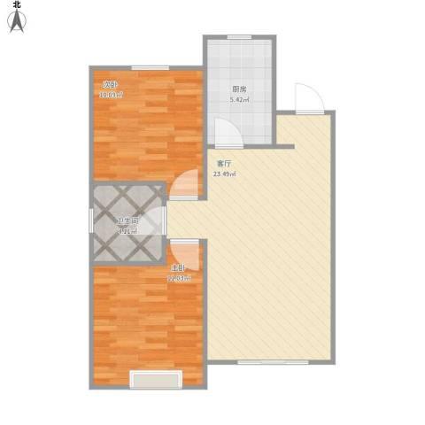 沿湖城2室1厅1卫1厨73.00㎡户型图