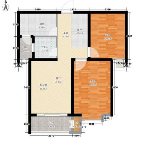 北城山水2室0厅1卫1厨89.00㎡户型图