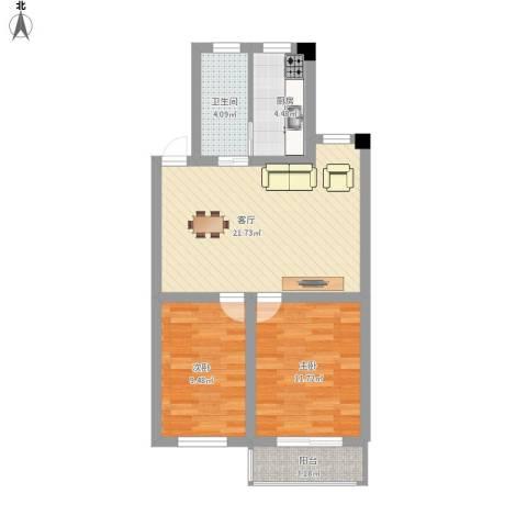 三塘桃园2室1厅1卫1厨80.00㎡户型图
