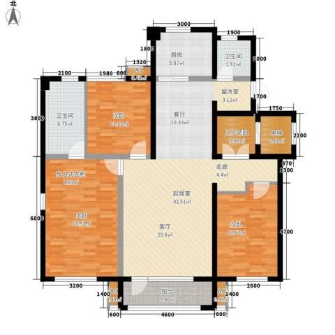 金地长青湾・丹陛3室0厅2卫1厨166.00㎡户型图