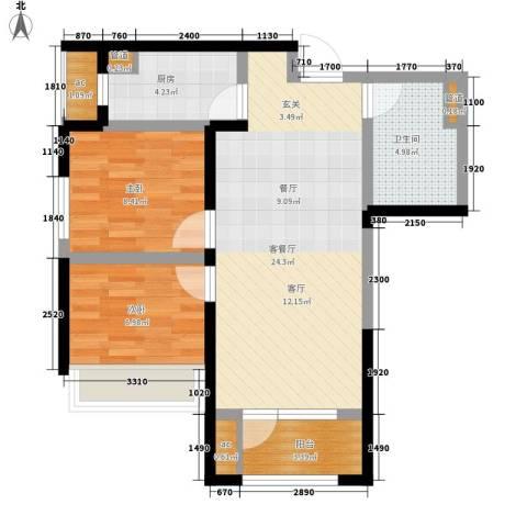郡原小石城2室1厅1卫1厨76.00㎡户型图