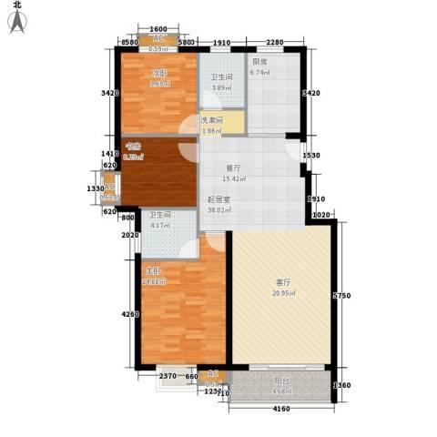 临山花园3室0厅2卫1厨129.00㎡户型图