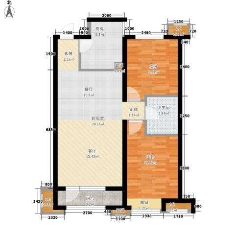 金地长青湾・丹陛2室0厅1卫1厨76.64㎡户型图