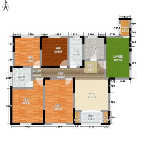 宝华和天下4室1厅2卫1厨142.87㎡户型图