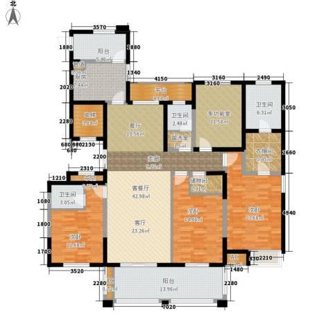 百乐广场3室1厅3卫1厨184.00㎡户型图
